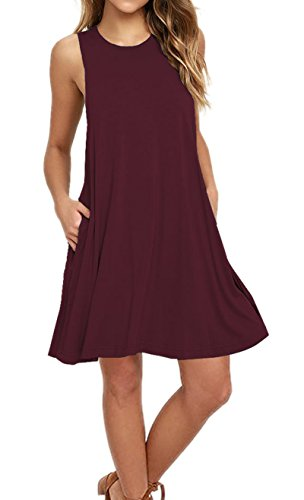 (AUSELILY Women's Casual Plain Simple Pocket T-Shirt Loose Dress Tank Sundress (M, Wine Red))