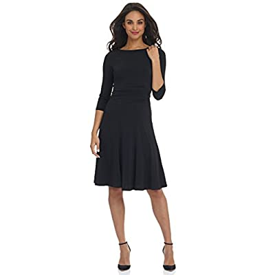 Rekucci Women's Flippy Fit N' Flare Dress with 3/4 Sleeves at Women's Clothing store