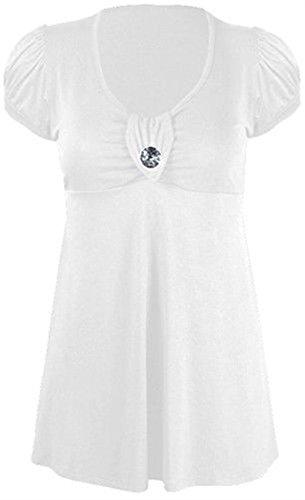 Neue Damen Plus Größe Juwel Knopf Trim Short Sleeve Scoop Neck Kleid 14–28 Gr. 16, Weiß - Weiß