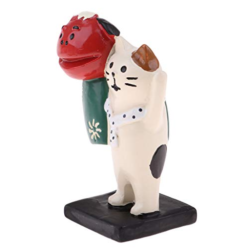 Brosco Japanese Style Miniature Cat Ornament Lion Dance Model Fairy Garden Decor ()