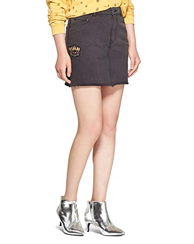 Rock By Junk Food Junior's Def Leppard Patch Black Denim Mini Skirt (3, Faded ()