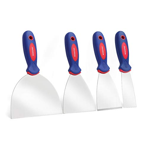 "WORKPRO Putty Knife Set Stainless Steel Made 4-piece 1.5"",3"",4"", 6"""