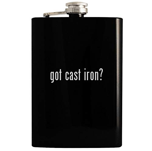 got cast iron? - 8oz Hip Drinking Alcohol Flask, Black -