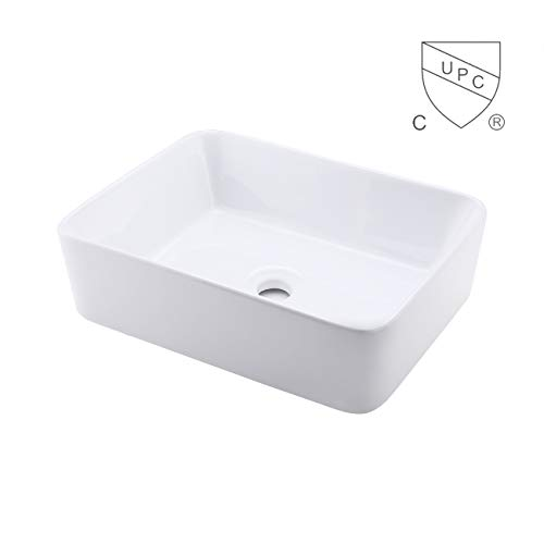 KES cUPC Bathroom White Rectangular Vessel Sink Above Counter Countertop Porcelain Bowl Sink for Lavatory Vanity Cabinet Contemporary, BVS110