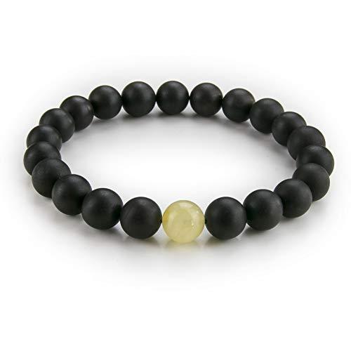 Natural Baltic Amber Bead Stretch Bracelet in a Luxury Gift Box   Men, Women and Children (Unisex) (Dark Cherry with 1 Cream Yellow, XL - 8 inch Wrist) B15