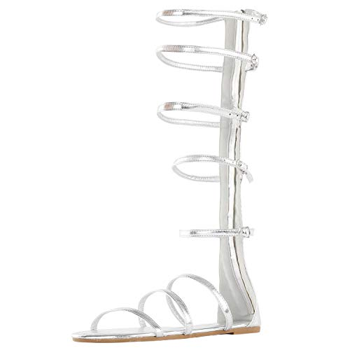 DREAM PAIRS Women's Athena_HIGH Silver Glitter Fashion Gladiator Design Knee High Flat Sandals Size 8.5 M US ()