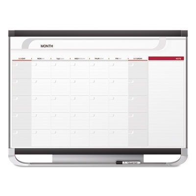 Quartet Total-Erase 4x3 Monthly Wall Calendar - Monthly, Daily, Weekly - Wall Mountable - Graphite, White (Monthly Calendar Total Erase Wall)