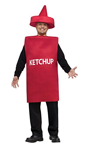 FunWorld Ketchup Bottle, Red, One Size Costume - Ketchup And Mustard Costume Hats