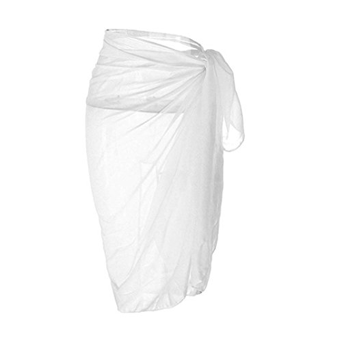 Women Pareo,Kaifongfu Chiffon Sweater Scarf Beach Dress (95140cm/37.4-55.1″, White)