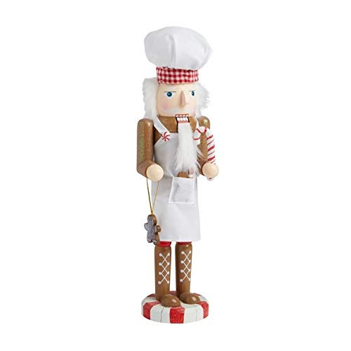 Cooking Chef or Baker Large Unique Themed Decorative Holiday Season Wooden Christmas Nutcracker & Tree Ornament (Chef Nutcracker)