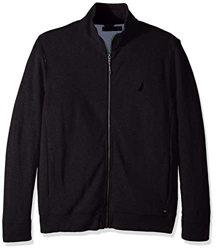 Nautica Men's Long Sleeve Zip Front Mock Neck Sweatshirt, True Black, - Neck Sweater Mock Front