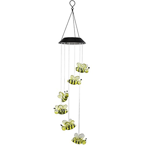 Rain Chain Bamboo (Anpatio Light Control Solar Powered Honeybee Wind Chime Outdoor Waterproof Colour Changing LED Light Romantic Garden Yard Balcony Decoration Best Gift)