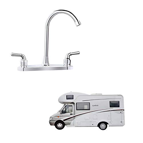 RV Non-metallic Kitchen Faucet Two Handle-8 Main Body-High Arch-360 Swivel Replace For Motorhomes, Travel Trailers,Campers (8HIGH ARCH)