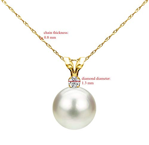 14k Gold Single 7-7.5mm White Cultured Freshwater Pearl and Diamond Pendant Necklace (G-H, SI1-SI2) – Choice of Gold…
