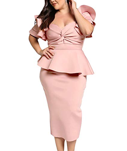 AlineMyer Womens Plus Size Ruffle Sleeve Peplum Cocktail Evening Party Midi Dress