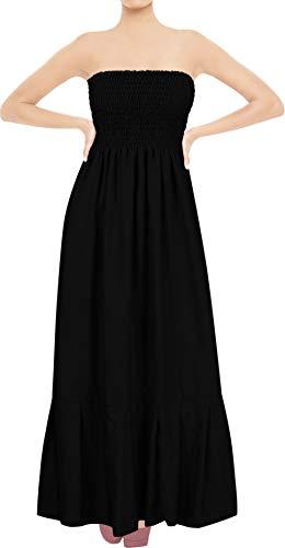 LA LEELA Long Tube Skirt Backless Sun Beach Cover upsRayon Plain Frill HalterNeck, Black Coal, One ()