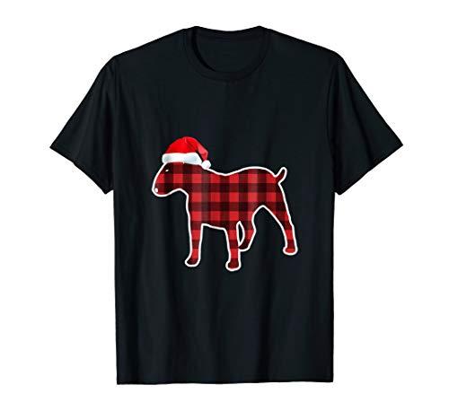 Bull-Terrier Plaid Pajamas Santa Hat Cool Ugly xmas