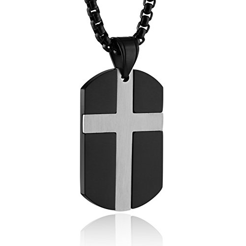 HZMAN Isaiah 41:10 Jewelry, Stainless Steel Cross Dog Tag Necklace Strength Bible Verse (Black & Silver) -
