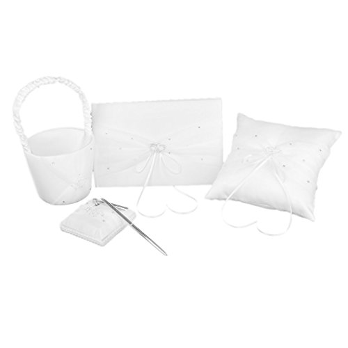 FOREVER YUNG 5 Pieces Double Heart Set Including Wedding Guest Book, Pen, Ring Pillow, Flower Girl Basket And Garter Set White