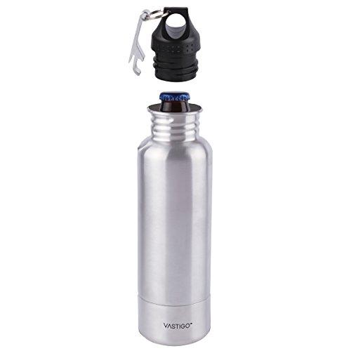Vastigo Stainless Steel Beer Bottle Holder w/Bottle Opener   Insulator within Bottle Keeps Beer Cold, Fits Most 12 Oz Bottles – Stainless