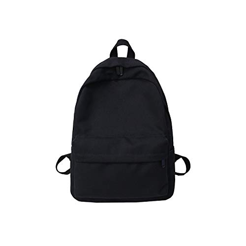 Women Canvas Backpack Solid Casual School Bag for Teenagers Backpack,Black,L30 W11 H40cm