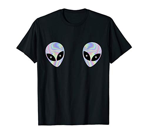 Alien Heads Boobs Shirt Colorful Rave Ufo Shirt Believe Tee ()
