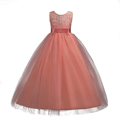 Pink lace Flower Girl Dresses Long A Line Tulle Wedding Party Pageant Dresses Ball Gowns for Girls with Satin Bow Sash 3-4 Years Old ()
