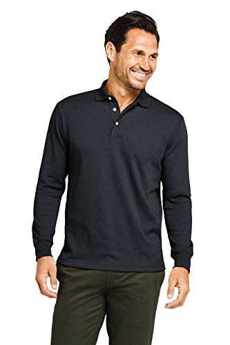 Lands' End Men's Long Sleeve Super Soft Supima Polo Shirt XL Black (Big & Tall Long Sleeve Polo Shirts)