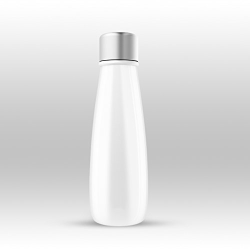 Sguai by Maxtron The Smart Water Bottle Company 13.5 oz Vacuum Insulated Stainless Steel Drink Water Reminder with Temperature Indicator Smart Water Bottle Cup (White)