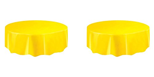 - Yellow Round Plastic Tablecloth 84
