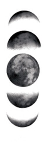 Moon Tattoo - SanerLian Waterproof Temporary Fake Tattoo Stickers Cool Grey Moon Phase Classic Set of 2