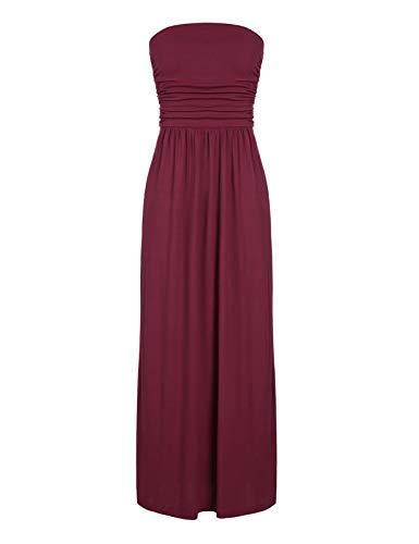 - CHICIRIS Women's Strapless Maxi Dress Plus Size Tube Top Long Skirt Cover Up Sundress Wine Red XL