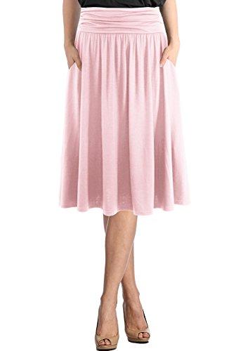 TRENDY UNITED Women's Rayon Spandex High Waist Shirring Flared Pocket Skirt (S0025-BLS, M) (Rayon Spandex Skirt)