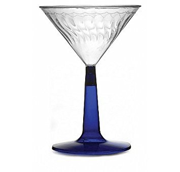 Fineline Settings Flairware Blue  6 oz. Two Piece Martini Glass  96 Pieces ()