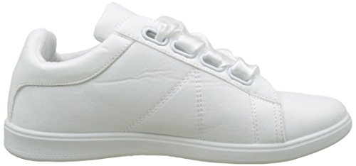 Trainers Fashion Women's 2 cm Lace Sole Satin Flat Shoes Heel Sneaker White Angkorly xBtwnqB