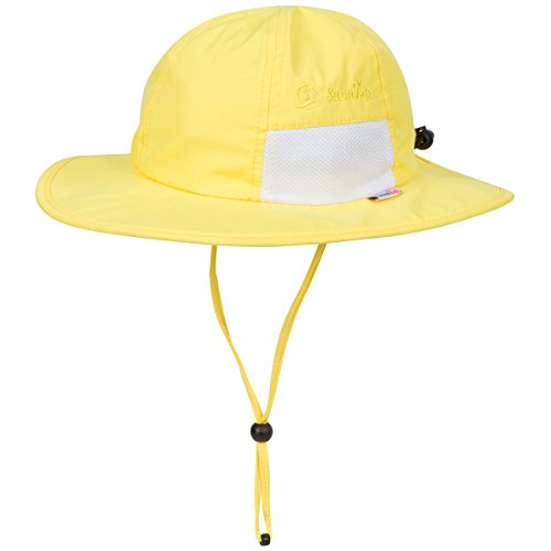 SwimZip Unisex Child Wide Brim Sun Protection Hat UPF 50 Adjustable Yellow 2-8 Years