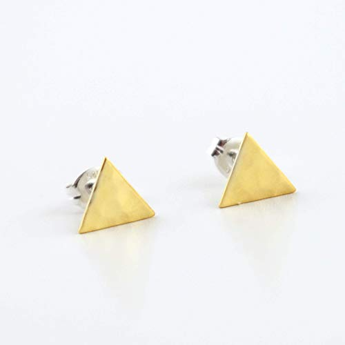 gle Stud Earrings - Brass Triangle with Sterling Silver Post ()
