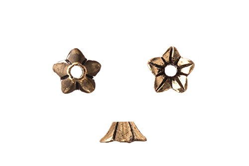 Jasmine flower antique copper-plated bead cap fits 9-11mm beads 9x9mm Sold per pack of 20pcs (3pack bundle), SAVE $2