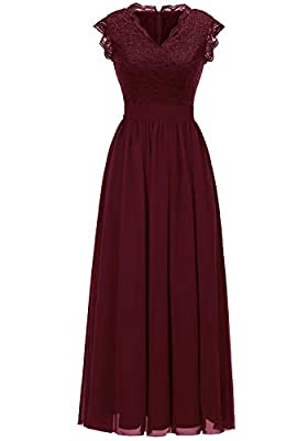 Dressystar Women's V Neck Sleeveless Lace Bridesmaid Dress Wedding Party Gown