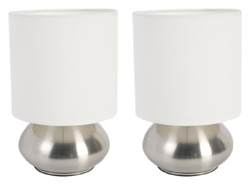 Home Design Versailles Two Light Touch Lamp in Brushed Steel (Set of 2) - bedroomdesign.us