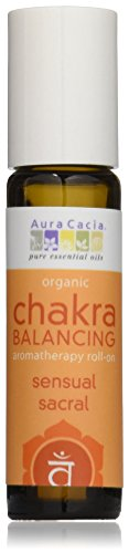 Aura Cacia Organic Chakra Balancing Roll-On, Sensual Sacral, 0.31 fluid ounce (Best Sandalwood Perfume Oil)