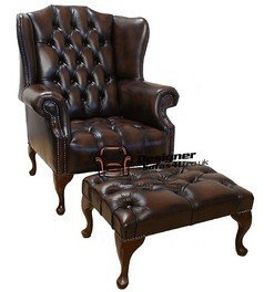 Designer Sofas4u Chesterfield Mallory Buttoned Seat Flat Wing Queen Anne High  Back Wing Chair + Matching