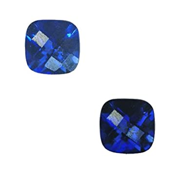 Blue Synthetic Sapphire Sm Cushion Checkboard Facet 7mm X 7mm (2) from uGems
