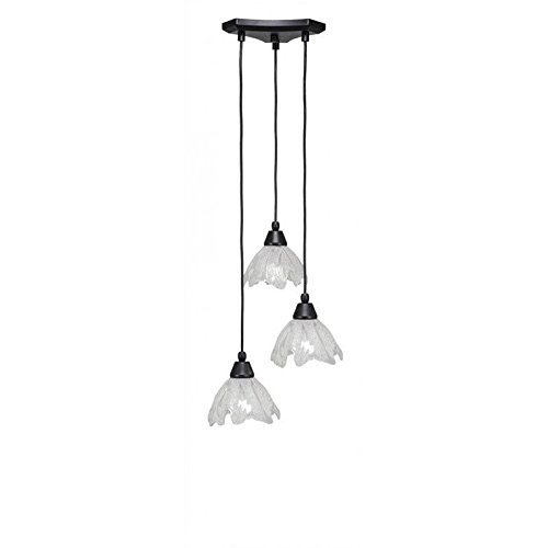 Toltec Lighting 28-MB-759 Europa 3 Multi-Light Mini Pendant with Italian Ice Glass, 7