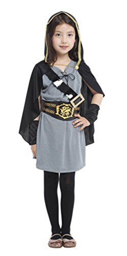 (stylesilove Little Girls Hooded Huntress Halloween Costume Party Dress (L/7-9 Years, Hooded)