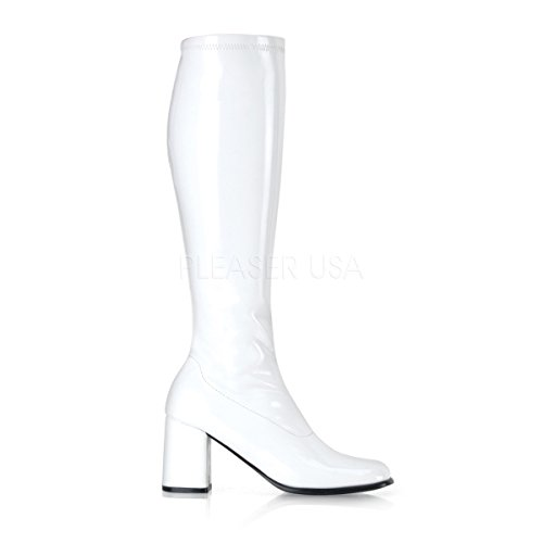 300 Ladies Size 8 Gogo Boots Stretch Patent White