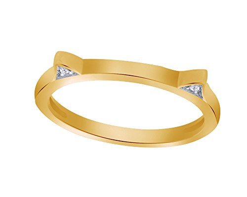 Round Cut White Natural Diamond Accent Cat Ears Ring in 10K Solid Gold