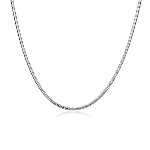 Zhiwen 925 Sterling Silver 3MM Snake Thin Chain Lobster Claw Clasp Necklace Jewelry for Men Women(16-24 inch) (18 ()