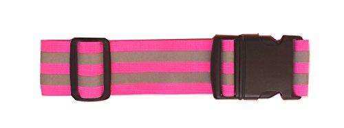 LW Reflective Belt Sash Band Elastic Safety Running Jogging Walking Biking Cycling High Visibility (Pink)