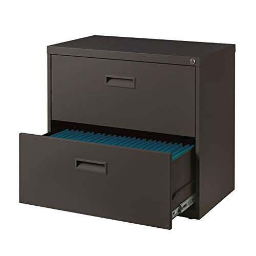 "Space Solutions 2-Drawer Steel Lateral File Cabinet, 30"" Wide, Home or Office Storage - Charcoal Gray"